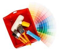 Anstrichhilfsmittel und Farbenanleitung Lizenzfreie Stockbilder