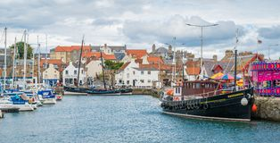 Anstruther harbour in a summer afternoon, Fife, Scotland. stock photos