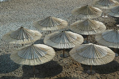 Ansturmregenschirme am Strand Stockbild