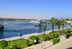 ANSUAN, EGYPT - NOVEMBER 16, 2008: Embankment of the Nile. Royalty Free Stock Images