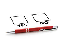 Answer. Pen and checklist isolated over white background Royalty Free Stock Image