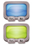 Answer Box For Ui Game. Illustration of a cartoon design answer box with buttons and glass interface elements, for ui software or commercial agreement on tablet Stock Image