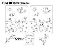 Find ten differences, task for preschool kids. With answer. Coloring page or book for children. Educational game. Vector illustration Stock Photo