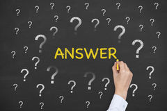 Answer Concept on Chalkboard Stock Photos