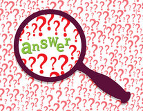 Answer found. Question marks and word answer under magnifier glass. Abstract illustration Stock Image