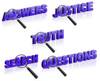 Answer justice search truth question. Answers justice search truth questions 3D words partly enlarged by magnifying glass isolated on white answer question stock illustration