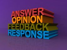 Answer opinion feedback and response Royalty Free Stock Images