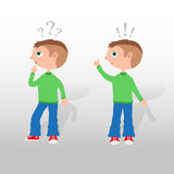 Answer and question - illustration with cartoon boys Stock Image