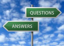 Answer and question signs. Highway signs with the words questions and answers written on them Royalty Free Stock Photos