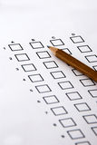 Answer sheet. The answer sheet of a test exam with pencil royalty free stock photo