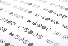 Answer sheet. Close up of pencil on answer sheet - test stock images