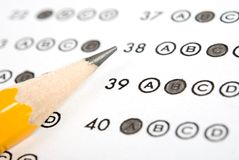 Answer sheet. Close up of pencil on answer sheet - test stock image