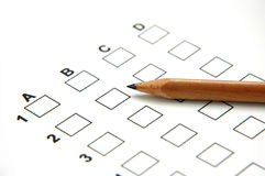 Answer Sheet 2. Answer Sheet with Pencil 2 royalty free stock photo
