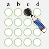 Answer sheet. Illustration of pencil fill the circle of answer sheet Royalty Free Stock Photo