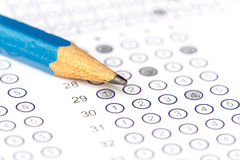 Answer sheet with pencil. Close up Answer sheet with pencil royalty free stock image