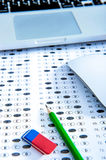 Answer sheet with pencil. Education concept stock image
