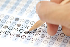 Answer sheet test score with pencil Stock Images