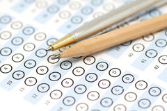 Answer sheet test score with pencil Stock Photography