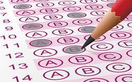 Answer Sheet. Vector illustration of an answer sheet with pencil Stock Photography