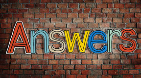 Answer word Concepts on Brick Wall Royalty Free Stock Images