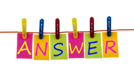 Answer word on laundry hook Royalty Free Stock Photo