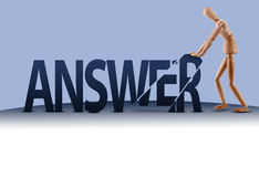 Answer word manikin Stock Images