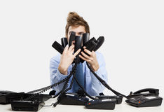 Answering calls Stock Photography