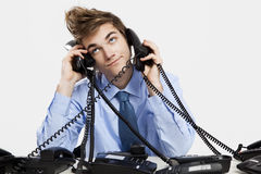 Answering calls Royalty Free Stock Photo