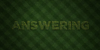 ANSWERING - fresh Grass letters with flowers and dandelions - 3D rendered royalty free stock image. Can be used for online banner ads and direct mailers royalty free illustration