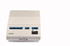 Answering machine. Closeup of stand alone recorder against white background stock photos