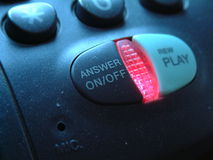 Answering machine. Close up of a telephone with answering machine stock photos