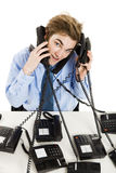 Answering multiple calls at the same time Royalty Free Stock Photography