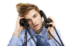 Answering multiple calls at the same time Royalty Free Stock Images