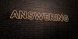 ANSWERING -Realistic Neon Sign on Brick Wall background - 3D rendered royalty free stock image. Can be used for online banner ads and direct mailers vector illustration
