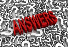 Answers. 3D text surrounded by question marks. Part of a series Royalty Free Stock Images