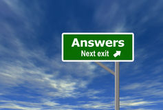 Answers. High quality computer generated road sign and sky background Royalty Free Stock Photo