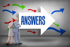 Answers against arrows pointing Royalty Free Stock Photos