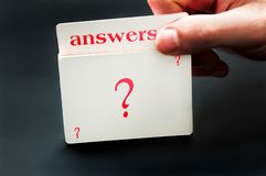 Answers card. From question deck of cards stock image