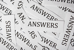 Answers concept. A lot of answers on paper printout stock image