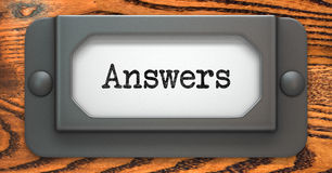 Answers - Concept on Label Holder. Stock Photos