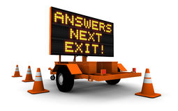 Answers! - Construction Sign Message. High resolution 3D render of construction sign message board and cones. Next exit... Answers Stock Photography