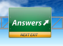 Answers Freeway Exit Sign stock illustration