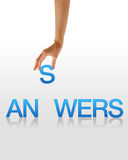 Answers - Hand. High resolution graphic of a hand holding the letter S from the word Answers Royalty Free Stock Image