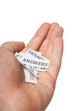 Answers in hand Stock Images