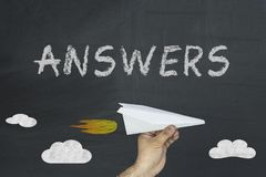 Answers inscription on blackboard stock images