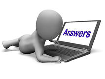 Answers Laptop Shows Faqs Answer And Help Online Royalty Free Stock Images