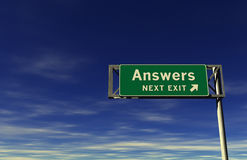 Answers - Next Exit Freeway Sign. Super high resolution 3D render of freeway sign, next exit... Answers Royalty Free Stock Image