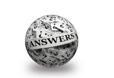 Answers on  question marks 3d ball Royalty Free Stock Photos