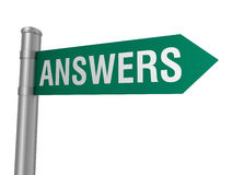 Answers road sign Royalty Free Stock Photos