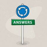 Answers signpost Stock Photo